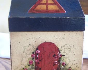Primitive  Folk Art Paper Mache' Cottage Box
