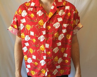 1980's Chinese Takeout Hawaiian Novelty Print Shirt Men's Size Large