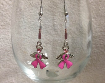 Breast cancer awareness earrings, pink ribbons