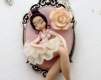 Ballerina,polymer clay pendant,necklace with charms,handmade,polymer clay jewelry,cernit,gift for her