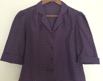 Vintage Blouse Circle Pattern Short Sleeve Women
