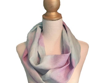Hand painted linen infinity scarf #16