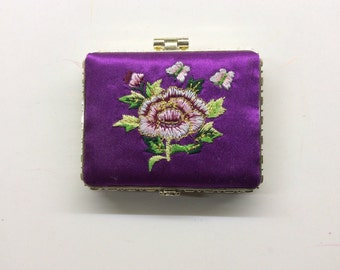 Embroidered Satin Compact Mirror