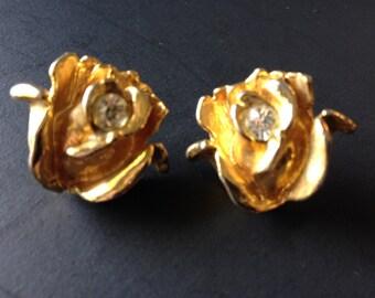 Earrings, vintage gold tone rose post earrings