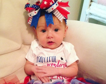 Over The Top Patriotic Bow