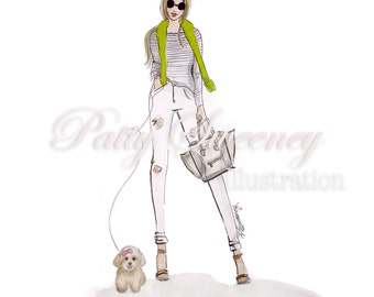 A Day in Town, Instant Download, Fashion Illustration, Cabi clothing, Celine bag, Poodle Art