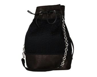 Black leather & tulle bucket bag