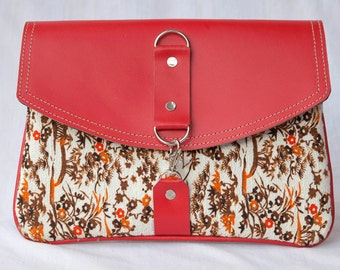 Fabric w, Leather Flap Clutch