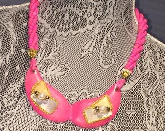 Vintage Hot Pink Wooden Necklace