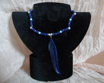Blue Navy with feathers
