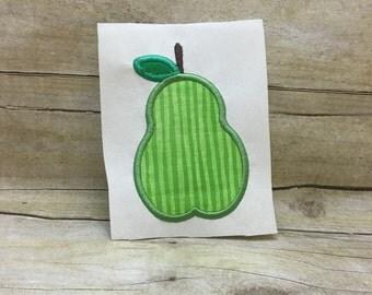 Pear Applique, Pear Embroidery Design Applique