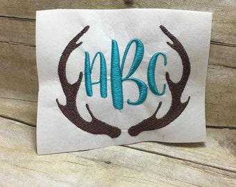 Deer Antlers With Monogram Embroidery Design, Monogram Embroidery Design Deer Antlers