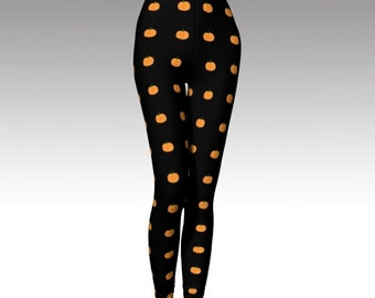 Pumpkin Leggings, Halloween Leggings, Orange Leggings, Pumpkin Tights, Halloween Tights, Activewear, Printed Leggings, Orange Tights, Black