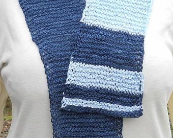 Pale blue and dark blue hand knit bamboo unisex fibonacci math-teaching scarf