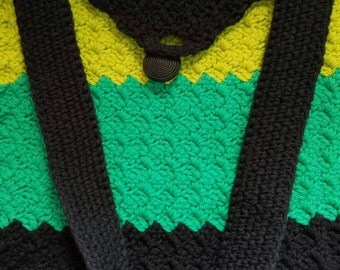 Knitted Yellow, Black, and Teal Crossbody Bag with Button for Teens and Aduts