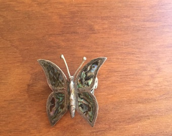 Vintage Sterling Silver Abalone Mother of Pearl Butterfly Pin Mexico