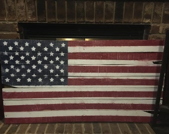 FREE SHIPPING - Rustic American Flag on Distressed Reclaimed Wood - Red, White & Blue Wall Art