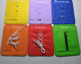 SMARTnet / Montessori Set, Learn to Dress Boards - Zip, Snap, Button, Buckle, Lace & Tie