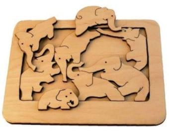 Puzzle Elephants - Wooden toys - Waldorf toys - Tactile wooden toys - Natural toys - Handmade wooden toys for kids - Montessori toys