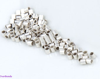 100pcs - 2mm 925 STERLING SILVER Crimp Beads, Tubes, Seamless, Polished, 2x2, 1.6x2, 2 Sizes Available, Made in the USA, SF011