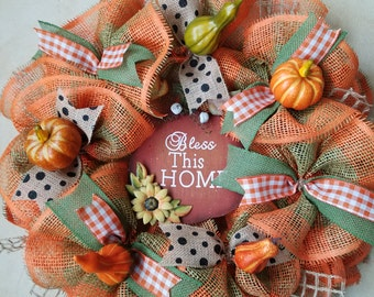 Autumn Wreath; Fall Wreath; Pumkin wreath