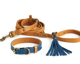 3 in 1 Leather Dog Leash and Collar