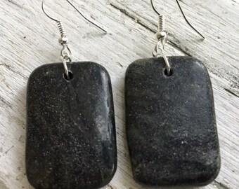 Slab of green, serpentine earrings