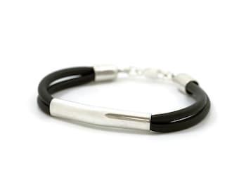black Bracelet, black rubber Bracelet, men gift, Sterling Silver Bracelet, 925 silver Bracelet, rubber, rubber jewelry, black Bracelet