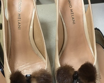 Vintage 1950's Mink & Leather Bow Shoe Clips (Set)