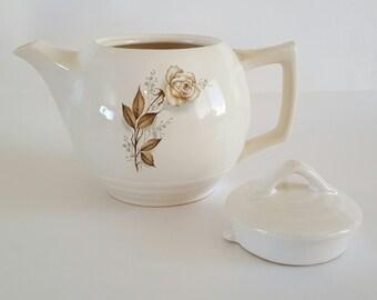 """Vintage McCoy Pottery Teapot White w/Brown Rose 7"""""""
