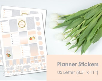 "Printable planner Stickers, Orange and gray colors. US Letter Size (8.5""x11""), Portrait. Floral digital stickers. Instant download."