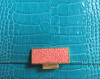 Teal Smythson of Bond Street Travel Wallet with Coral Shagreen Clasp