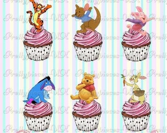 24 x Winnie The Pooh & Friends Stand-Up Pre-Cut Wafer Paper Cupcake Toppers