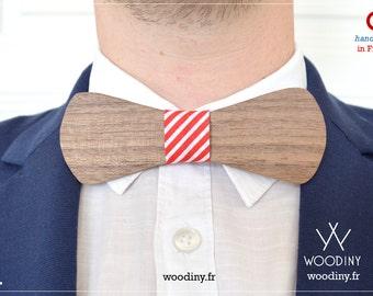 "Wooden Bow Tie ""Benares"", Valentines gift, Gift for men, groomsmen, groom gift, wedding, Boyfriend gift, Red-Stripped Ribbon, Woodiny"