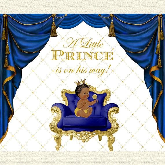 Printable Royal Blue and Gold Prince Themed Crown Tiara