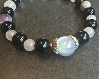 Black Onyx, pink quartz, moon stone, amethyst bracelet