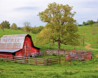 Red Barn Print, Red Barn Print, Country Landscape Print, Rural Photography, Best Wall Art, Best Barn Photos, Best Landscapes, Wall Decor