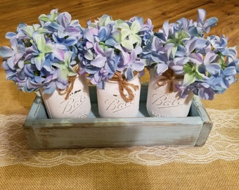 Handcrafted:Set Of Three (3) White Mason Jar Centerpiece With Blue Box