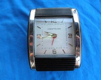 Westclox Deco Style Travel Alarm Clock USA Made  Roll Up Style Illuminated Dial Runs