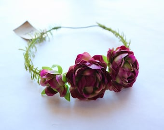 Dark Pink Garden Rose Silk Flower Crown