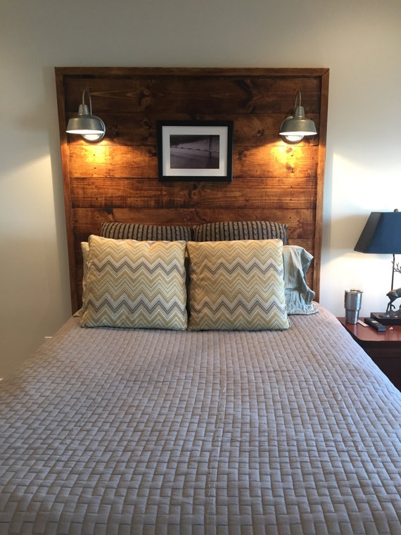 Items similar to rustic headboard with lights on etsy for Rustic headboard with lights