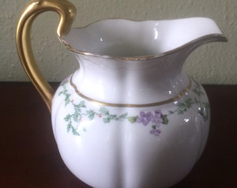 Vintage Bernardaud Limoges Pitcher with Holly and Flowers