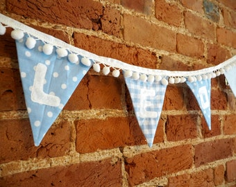 Baby Blue Personalised Name Bunting with PomPom trim