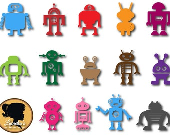 Robots Svg Silhouette, Robots pack svg , Fun Robots Svg, Solid Robots ( zipped .eps .pdf .dxf .svg and .studio file) vector cutting files