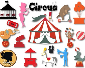 Circus Silhouette Svg - Circus design - Carnival Svg  - Circus svg-(zipped .eps .pdf .dxf .svg and .studio file) vector cutting files