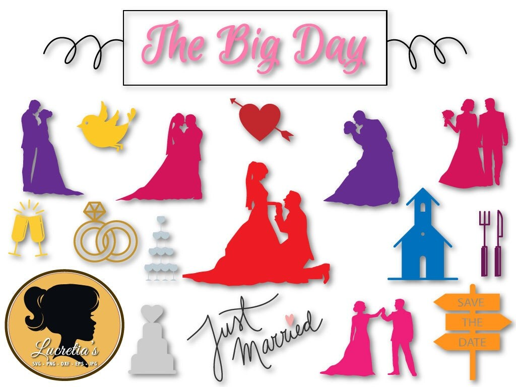 Just Married Quotes Wedding Quotes Svg Just Married Set Svg The Big Day Silhouette