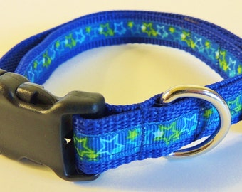 Medium Blue/Green Stars Dog Collar