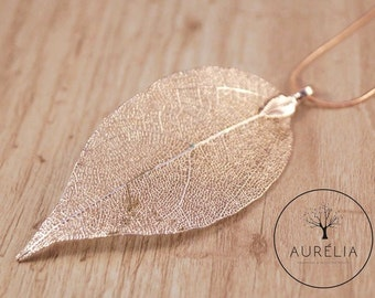 Real leaf necklace Rosé gold