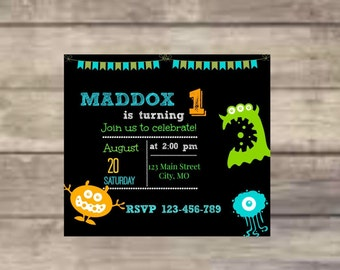 Little Monster, Big monster, Birthday, Monster, Orange, Green, Turquoise, Birthday Invitation, Digital Print