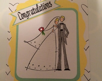 Wedding Card, Paper Handmade Greeting Card, Congratulations, Bride and Groom, Blank Card